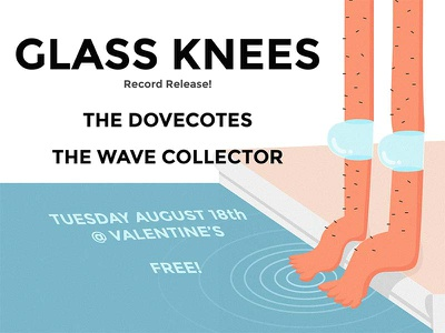 Glass Knees record release show poster valentines pdx the dovecotes glass knees the wave collector show poster indie rock portland or