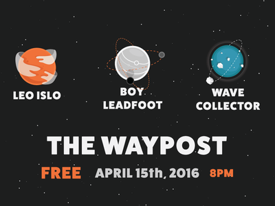 Wave Collector, Boy Leadfoot, LEO ISLO – Show Poster pdx portland the waypost sci-fi planets boy leadfoot leo islo wave collector illustrator vector