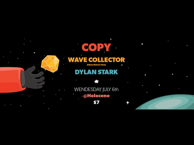 Wave Collector release show poster space illustrator sci-fi vector dylan stark copy holocene electronic music portland or wave collector