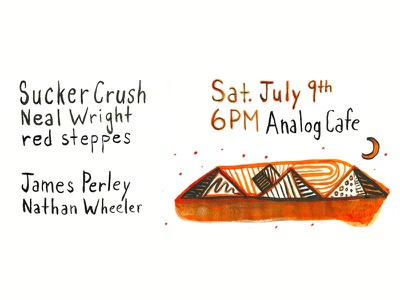 Show Poster for Sucker Crush @ Analog Cafe pyramids illustration hand drawn abstract brush ink show poster music portland or