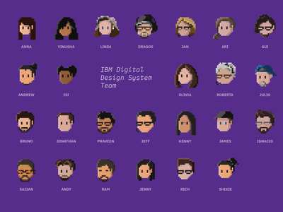 IBM Digital Design System Team 8bit face people icon design pixel character avatar portrait 8 bit