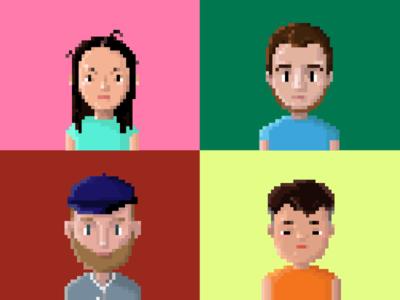 my friends! character design portrait 8-bit