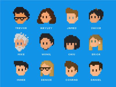 Team 2018 cartoon faces caricature portrait pixelated pixel 8bit