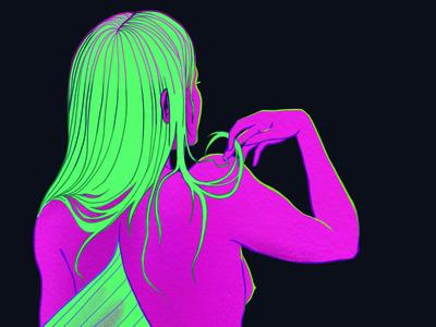 Mermaid fin hair female woman neon line illustration mermaid