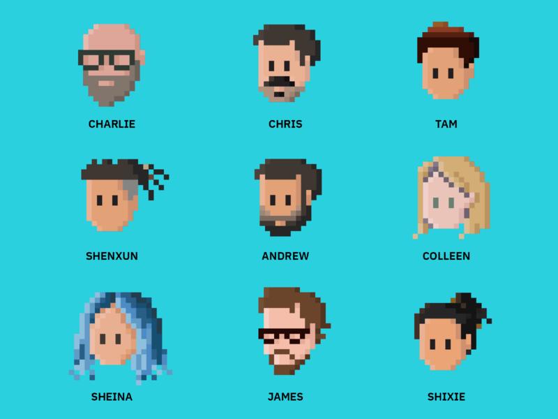 Commerce design team cartoon face portrait pixelart pixel 8-bit 8bit character