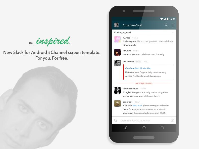 Slack for Android Channel Template (for Sketch) sketch best designs onetruegod cage mobile android slack