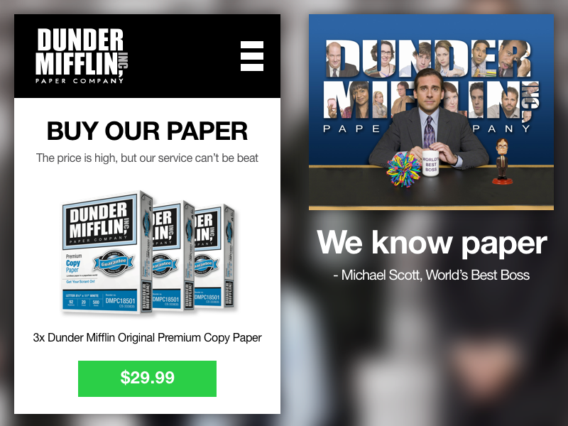 Mobile Landing Page day3 dunder mifflin michael scott the office daily ui dailyui landing page web mobile