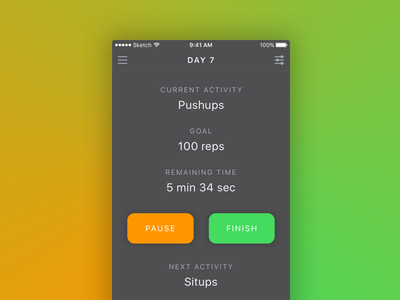 Workout Tracker iOS App sketch mockup day41 dailyui app ios stats tracker exercise workout