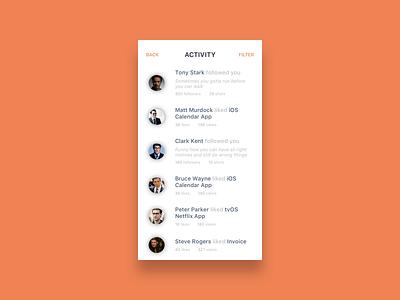 Dribbble Activity Feed for iOS day47 dailyui mockup sketch ios activity dribbble