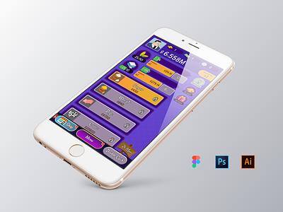Main screen for clicker game APP game vector ios smartphone application mobile creative ui interface digital design