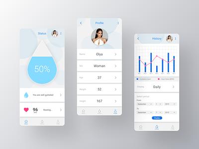Hydration Monitor APP ux ios smartphone application mobile creative ui interface digital design