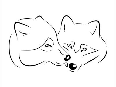 Wolves linear vector illustration creative interface branding vector logo digital illustration design