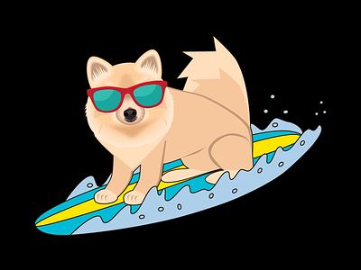 Dog surfing vector illustration surfing dog interface vector logo illustration digital design