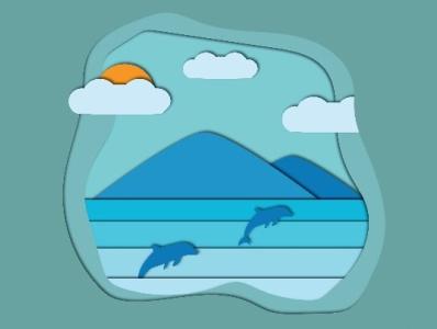 Paper cut illustration dolphin sea papercut adobe illustrator wallpaper vector illustration design