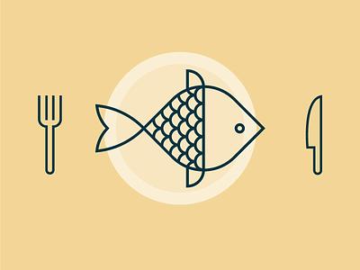 Fish Dinner fin diner plate knife fork flounder fish