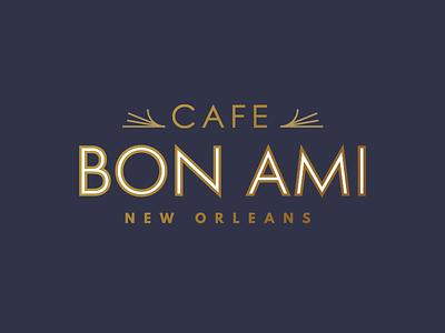 Cafe Bon Ami pt I nola logo gold cafe shop coffee grass