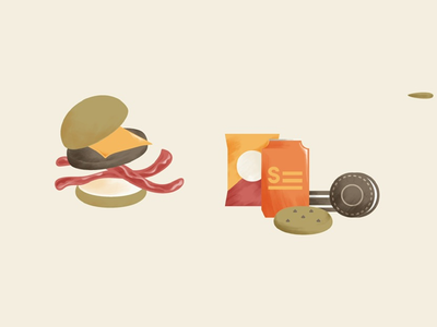 Unhealthy foods carbs nutrition illustration cookie soda chips burger
