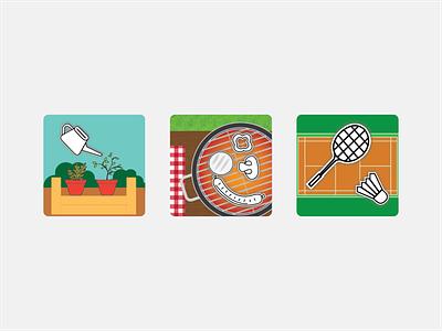 Favourite Outdoor Activities Icons adobe photoshop adobe illustrator icon set