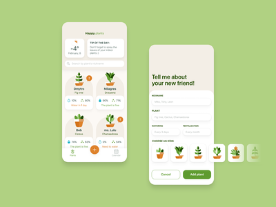 Happy Plant App - Concept ui design ui  ux firstshot figma plants plant app application app design
