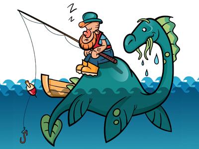 Dino and fisherman dribbble