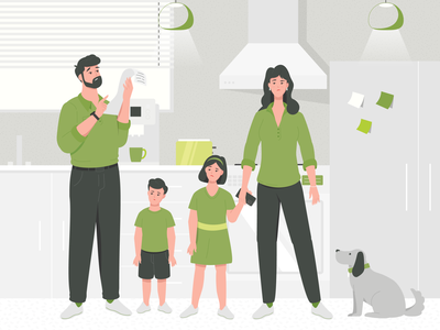 Family and bills kitchen animation simple flat character illustration vector