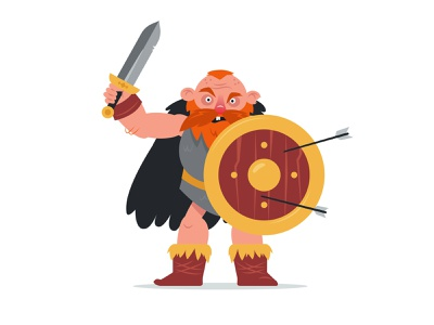 Viking characterdesign shield sword scandinavian cartoon warrior viking man character illustration vector