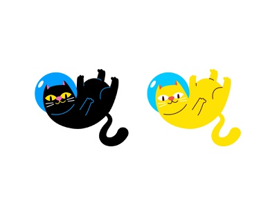 Space cats simple flat illustration levitation vector characterdesign space cats cat