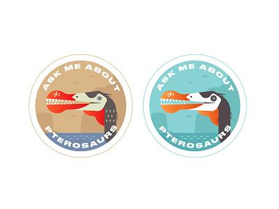 Ask me about pterosaurs dinosaur illustration vector flat sticker paleontology emblem ask me pterosaur jurassic badge
