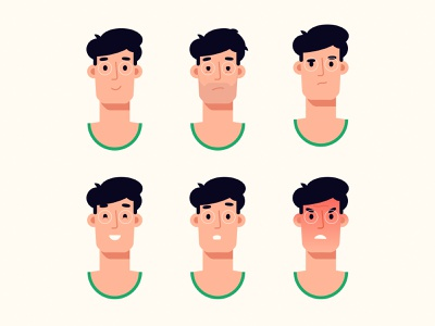 Character emotions character design illustrator faces emotions man flat simple character illustration vector