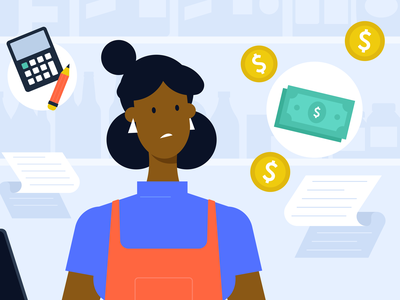 Small business character money woman store character design simple flat character illustration vector