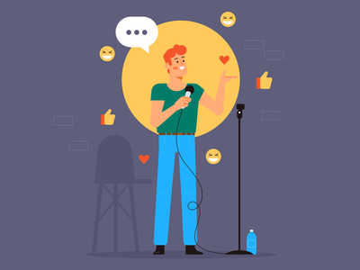 Standup comedian comedy standuper standup stand up man simple flat character illustration vector