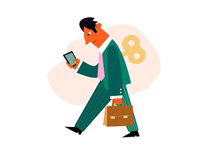 Clockwork clockwork business manager tyred texture man simple character illustration vector