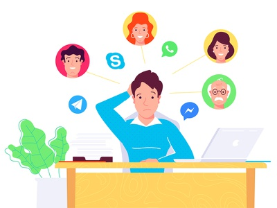 Manager smm social messengers communication peoples office flat character manager vector illustration