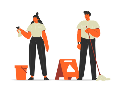 Сleaners characters mop illustrator cartoon cleaner cleaners woman office man simple flat character illustration vector