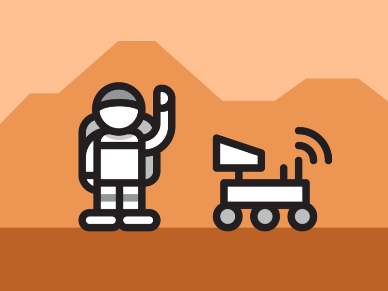 Mark Watney - Space Pirate illustrator spaceman space lineart pathfinder rover iconography icon mars nasa the martian