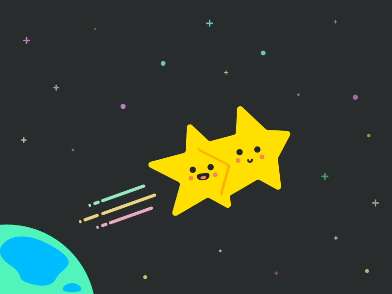 Twin stars illustration love earth stars shooting stars