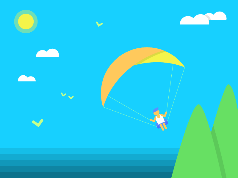Paragliding exciting light-heared fun nature beach mountain ocean sea flying paragliding sun illustration