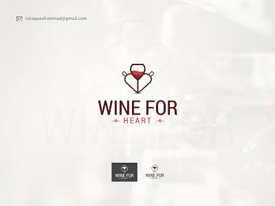 Wine For Heart minimal logo design concept drink logodesign wine logo creative logo clean graphic design vector illustration illustrator flat minimal branding design logo