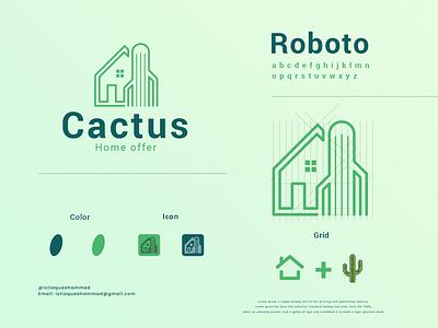Cactus home offer logo concept simple minimal logo popular solid color brand design line art modern cactus home real estate grid logo grid logodesign flat creative logo clean