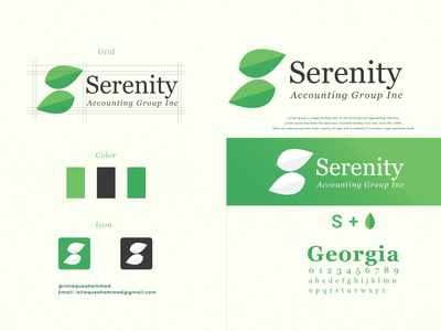 Serenity Accounting Group Inc logo concept brand design creative logo grid brand identity accounting popular modern leaf logo minimal flat banking finance green simple grid logo clean branding logodesign