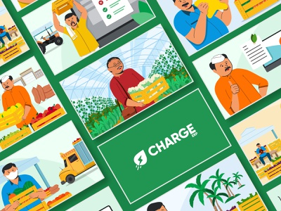ChargeERP | Character Illustration Compositions banners creative text clean web art illustrator minimal typography illustration design motion graphics animation branding logo graphic design 3d