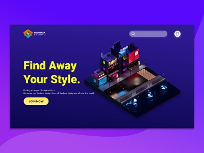 UI Landing Page Lowpoly Town social media templates landingpage webdesign uiuxdesign lowpoly3d graphicdesign illustration 3d art creative design 3d illustration isometric design