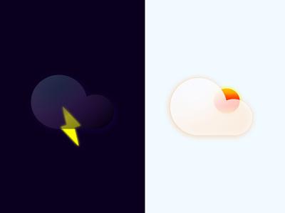 Weather Icon animation branding ui weather icon illustration vector icon glass design minimal glassmorphism