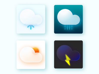 Glass morphism icon weather weather icon cloud vector icon filled icon minimal ux visual design ui icon glass icon glassmorphism iconography design branding