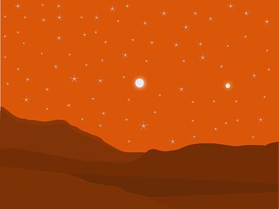 Mars stars mountains outer space design minimal vector graphic vector design vector red planet moon flat illustration illustration ui animation space exploration solar system mars space graphic design design