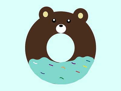 Donut vector ui flatdesign graphic design design cutedonut cutebear freshdonut flatdesignofdonut illustration donut