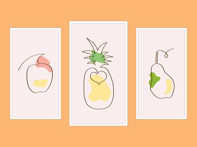 line art fruits website clean branding flat typography illustrator illustration graphic design design art