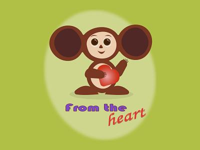 чебурашка от всего сердца animation typography clean ux illustrator illustration graphic design flat design art
