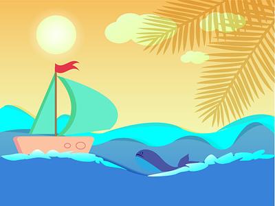 морской летний пейзаж clean animation ux typography illustrator illustration graphic design flat design art