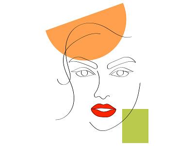 line art face woman color brend branding clean ux typography illustrator illustration graphic design flat design art